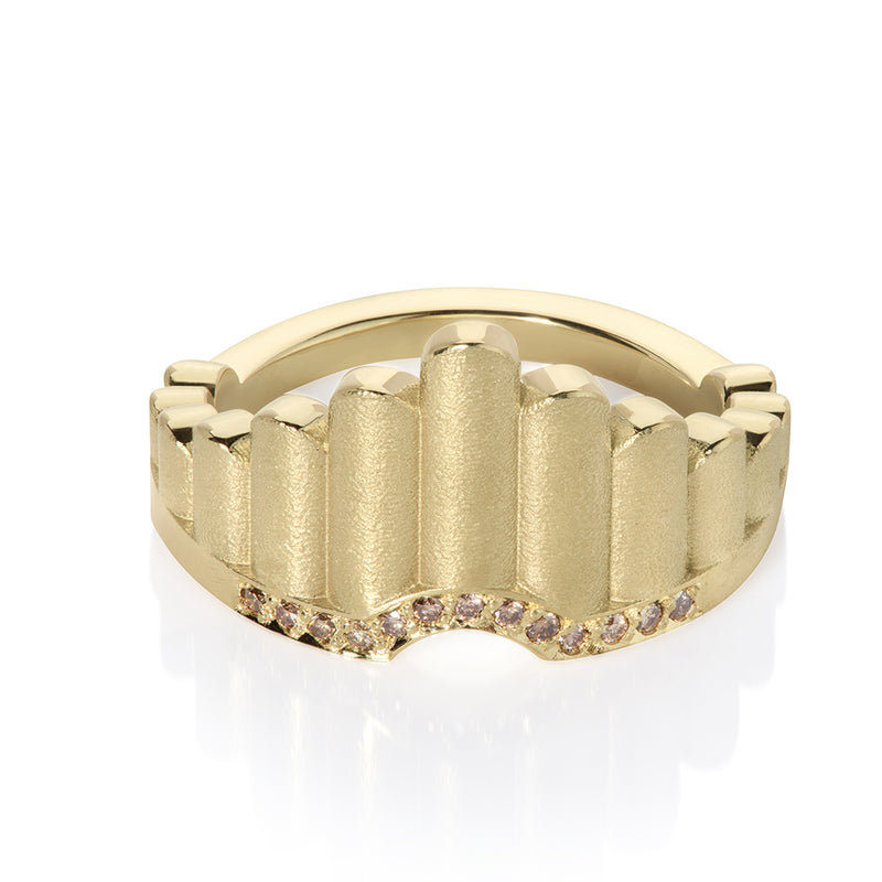 Shakti Shield Ring in gold and champagne diamond