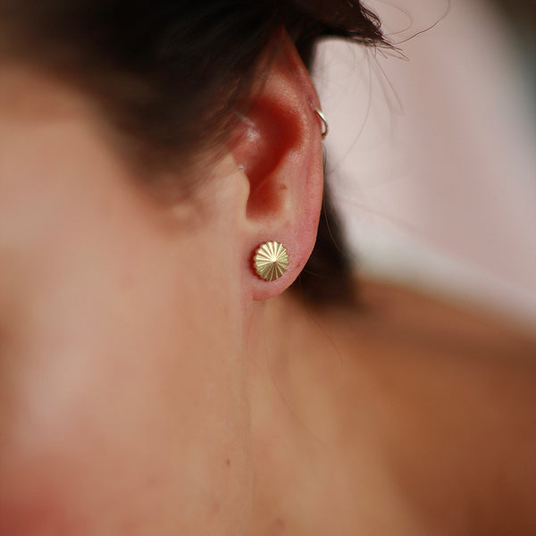 Textured Gold Studs Handmade in London