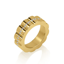 Gold and Diamond Wide Wedding Band