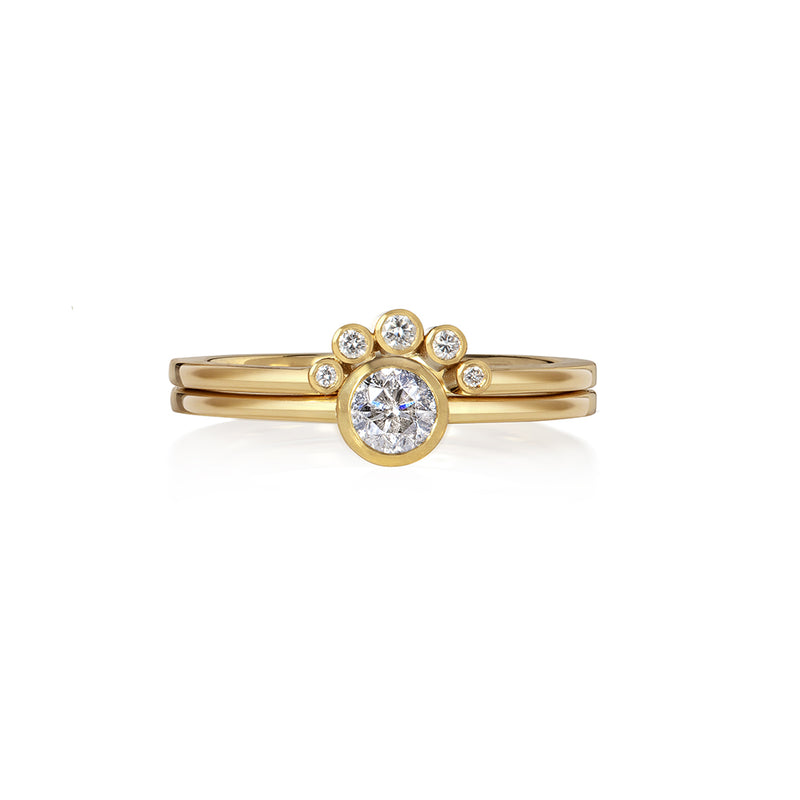 White Diamond Solitaire with Stacking Ring