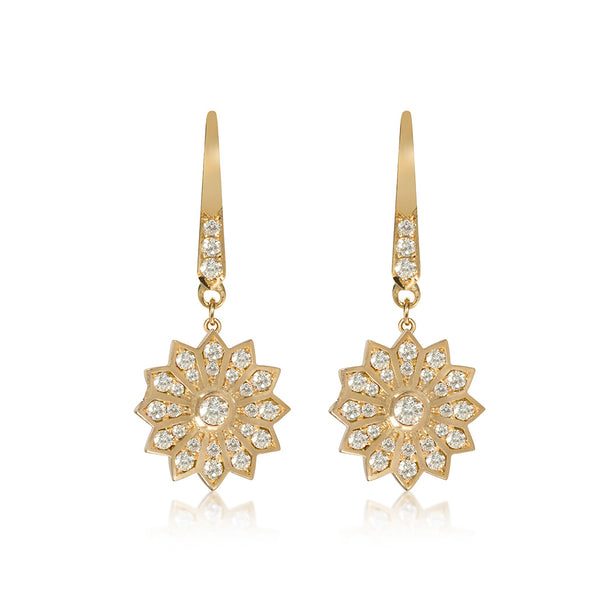 Pushpa Gold Diamond Hanging Earrings