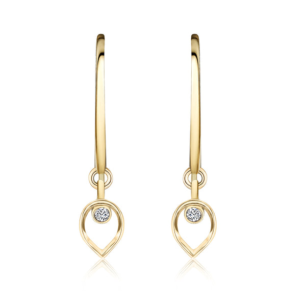 Gold and Diamond Drop Earrings