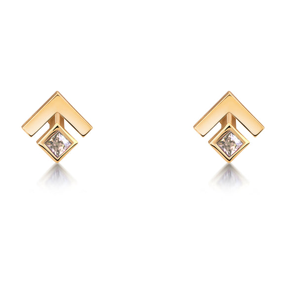 Square Princess Champagne Diamond Studs