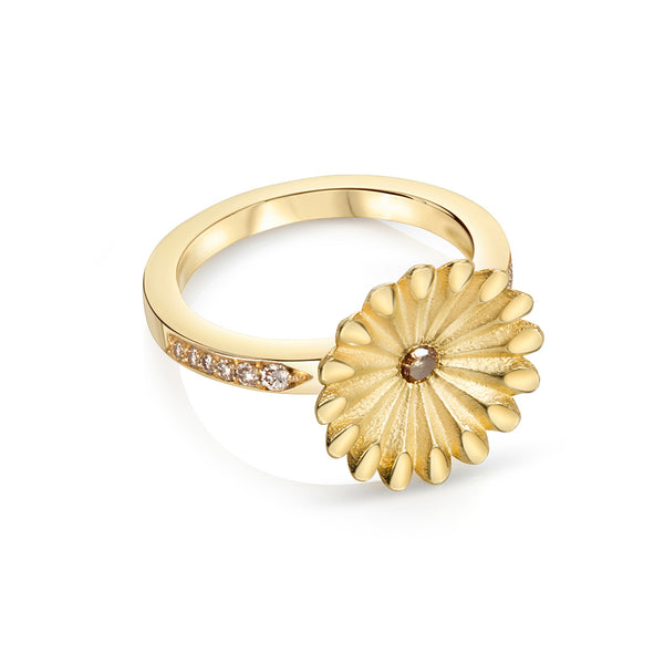 Cognac Diamond Floral Ring