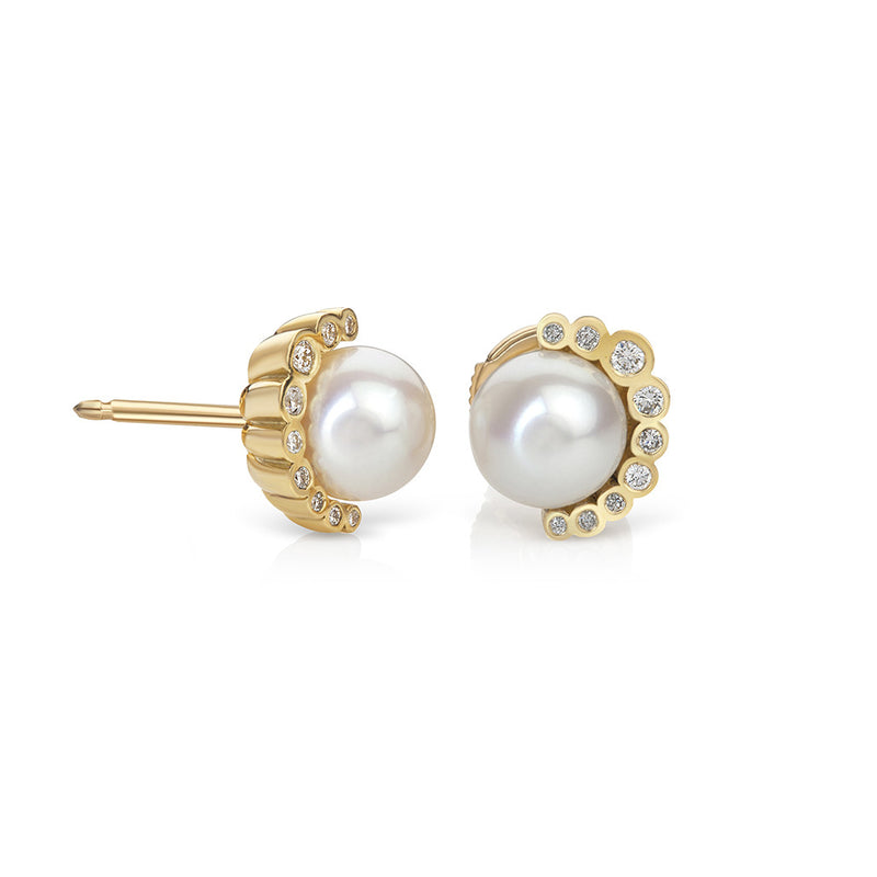 Aditi White Pearl and Diamond Stud Earrings