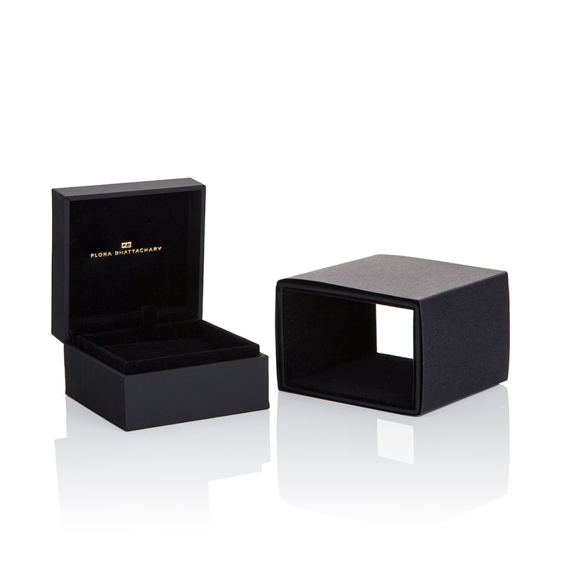 Flora Bhattachary Fine Jewellery Black and Gold Packaging