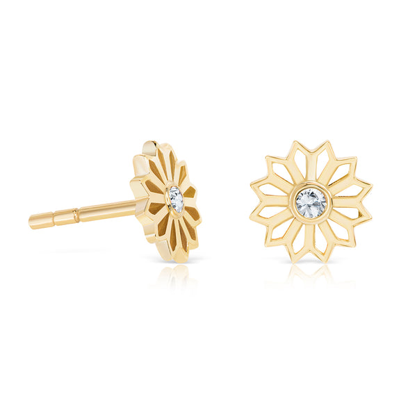 Diamond and gold star earrings