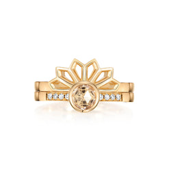 Diamond Solitaire with gold Tiara Fan Ring