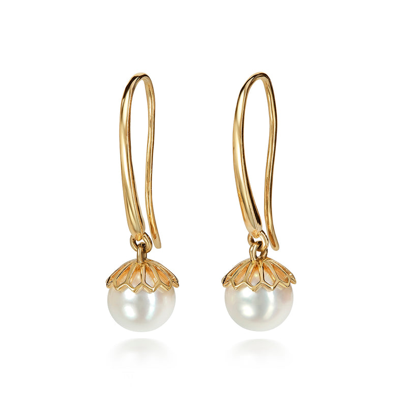 White Pearl Drop Hanging Earrings