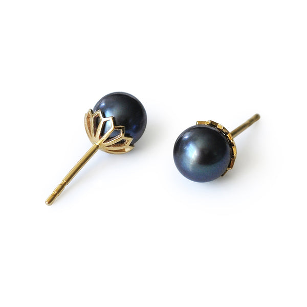 Dark Pearl Stud Earrings