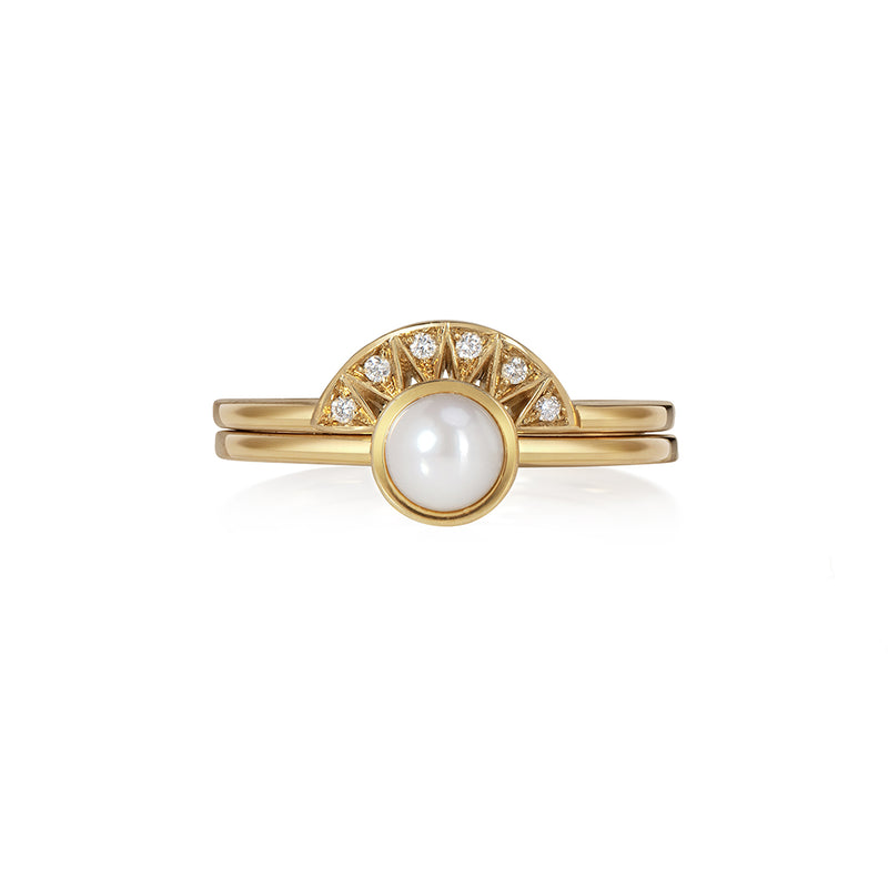 Chandri Pearl Ring with Taxila Tiara Band