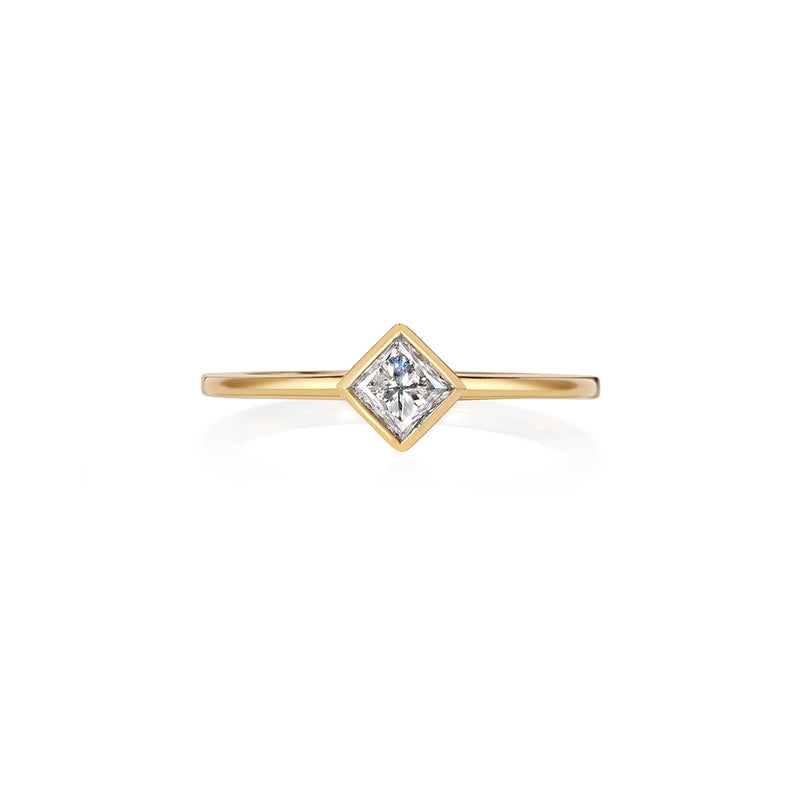 Princess Cut White Diamond Solitaire