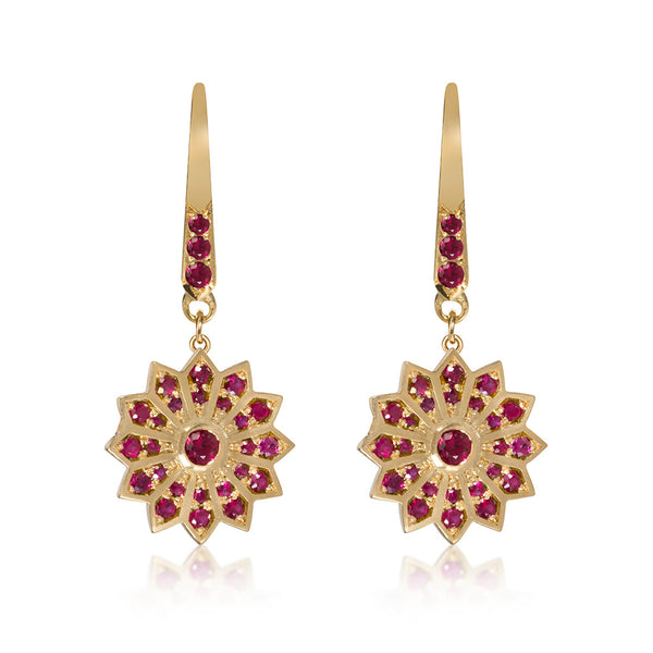 Gold and Ruby Star Hanging Earrings