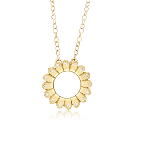 Gold and Diamond Floral Pendant
