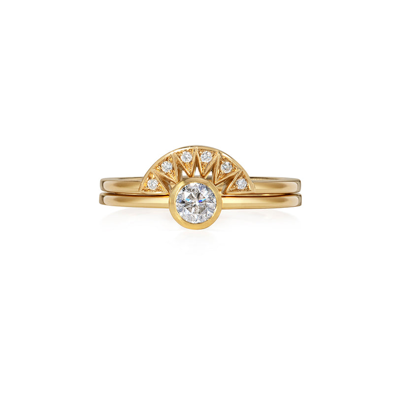 Diamond Solitaire with Diamond Tiara Ring