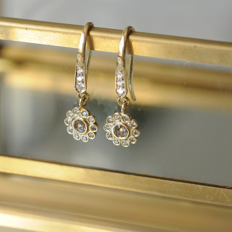 Champagne Diamond and Gold Earrings