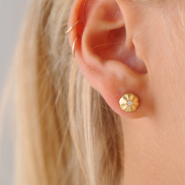 Padma Gold and Diamond Stud Earrings