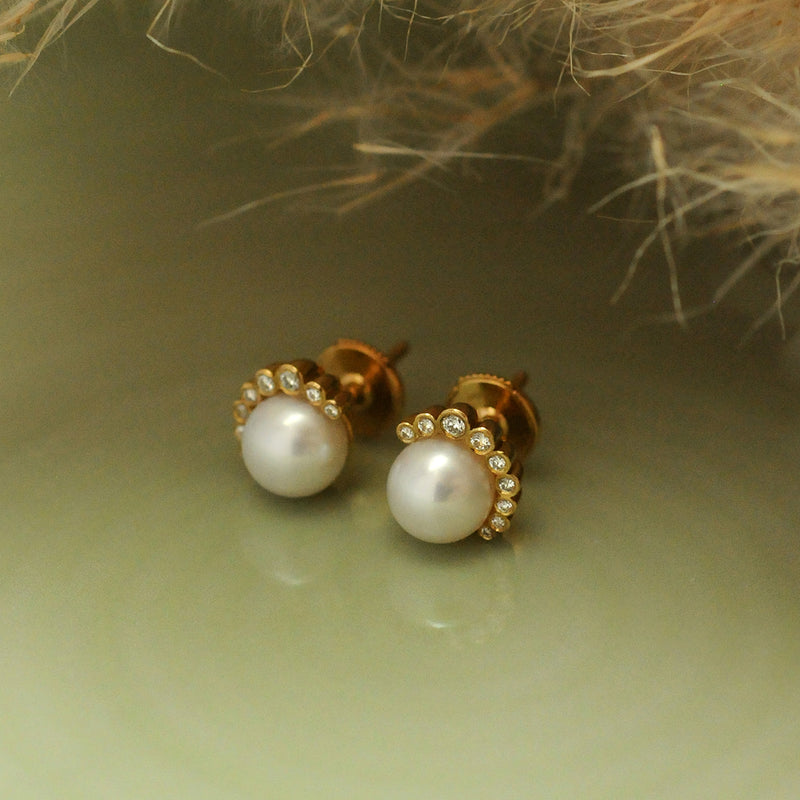 Aditi Gold Pearl and Diamond Earrings