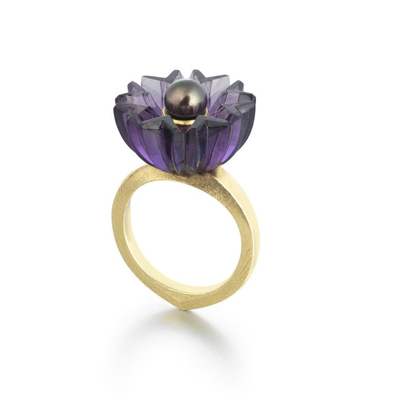 Hand Carved Amethyst and Dark Pearl Ring