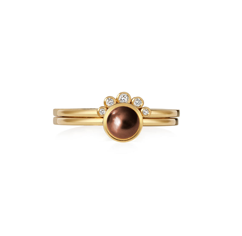 Chocolate Pearl and Diamond Ring
