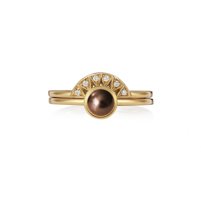 Chocolate Pearl Stacking Ring