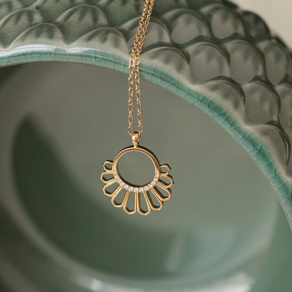 Diamond Feather Pendant on Green Pot