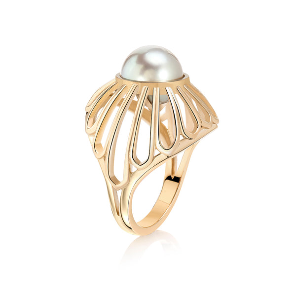 Tahitian Pearl Gold Dome Ring