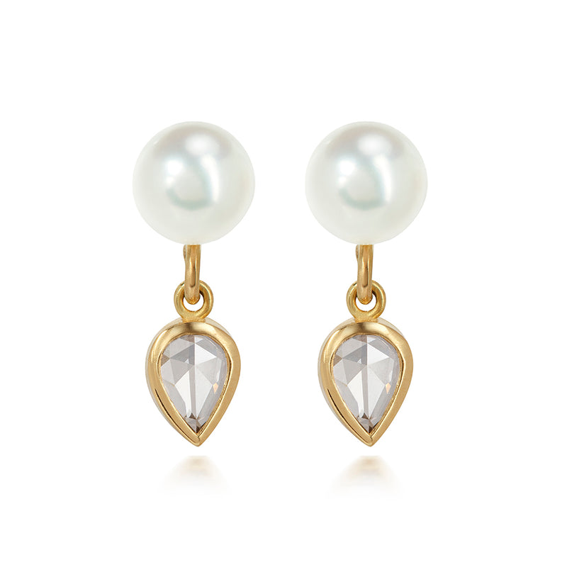 Pearl and Antique Cut Diamond Earrings