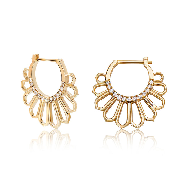 Mor Diamond and Gold Hoop Earrings