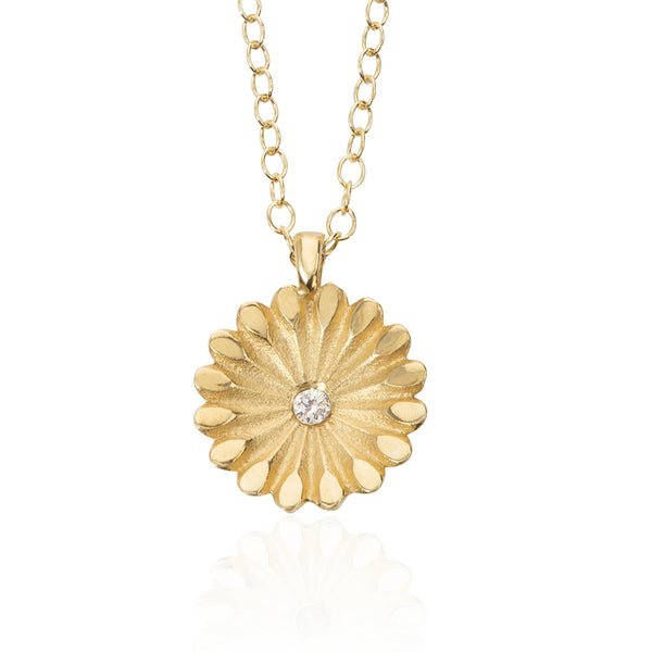 Lotus Gold and Diamond Pendant