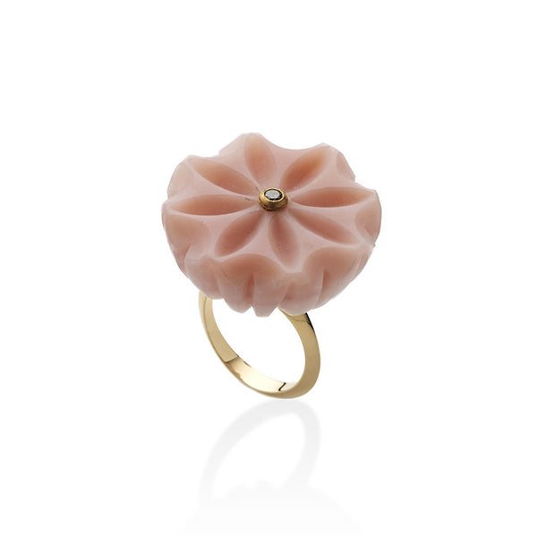 Carved Pink Opalite Diamond Ring