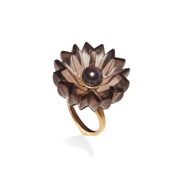 Carved Smoky Quartz Jyamiti Ring