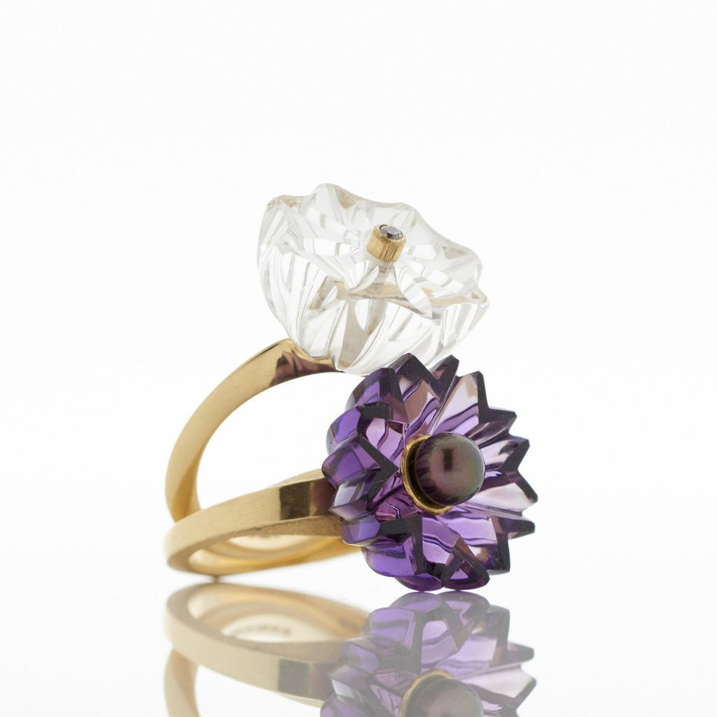Gold Rock Crystal and Amethyst Rings