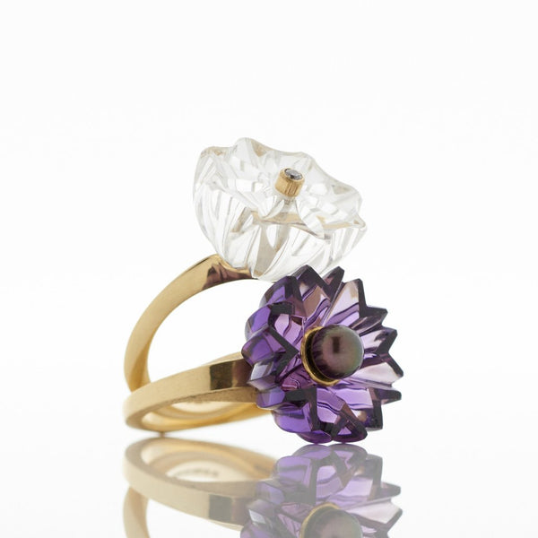 Gold Rock Crystal and Amethyst Gold Rings