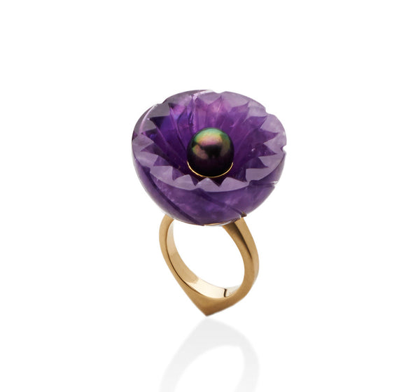 Jyamiti Carved Amethyst And Pearl Ring