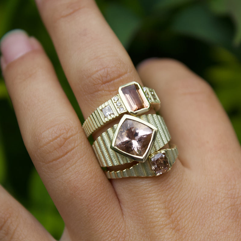 Pink Stone Gold Rings