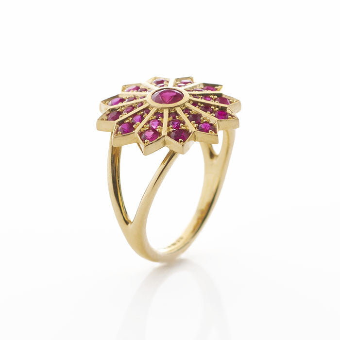 Ruby and Gold Star Cocktail Ring