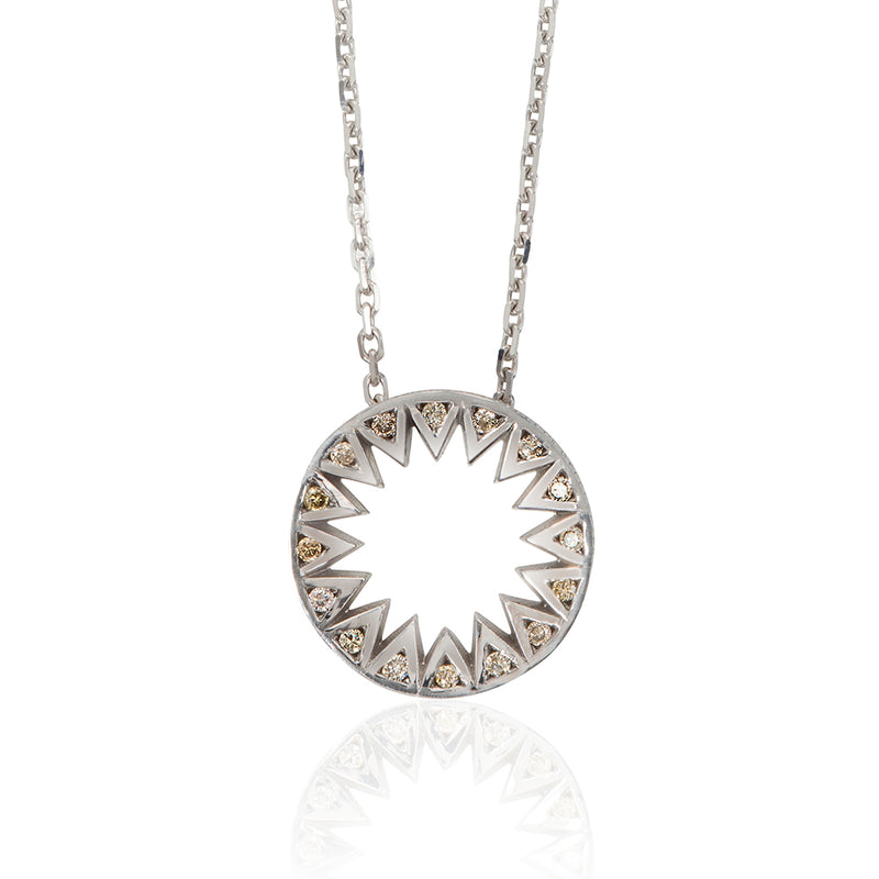 Taxila White Gold and Champagne Diamond Pendant