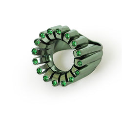 Lakshmi Cocktail Ring in Parrot Green E-Coating and Tsavorite