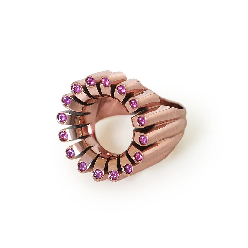 Lakshmi Cocktail Ring in Pink Orchid E-Coating and Pink Sapphire