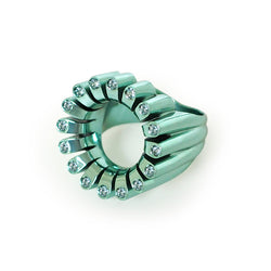 Lakshmi Cocktail Ring in Persian Blue E-Coating and Aquamarine