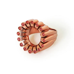 Lakshmi Cocktail Ring in Metallic Mango E-Coating and Orange Sapphire