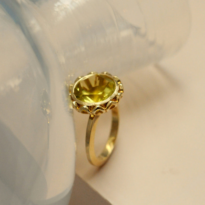 Gold Lemon Quartz Ring