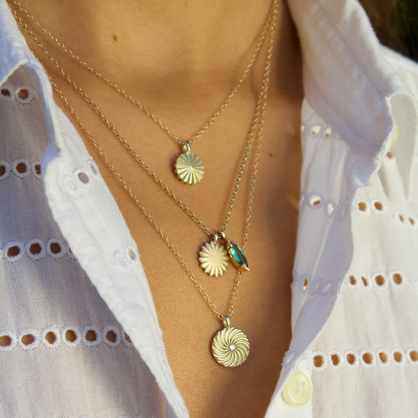 Gold Radial Pendant Necklaces
