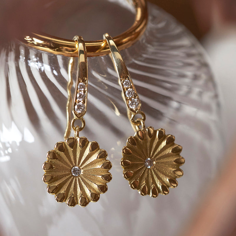 Lotus Diamond Hanging Earrings
