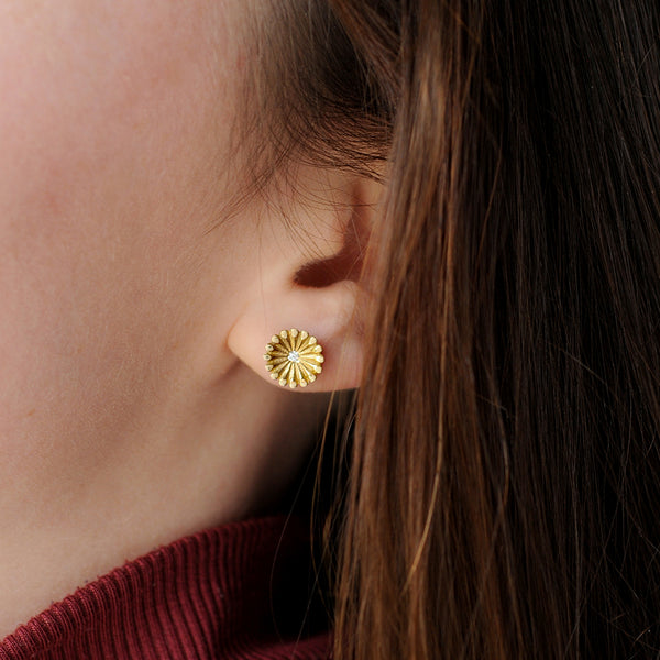 Model wearing Lotus Diamond Flower Earrings
