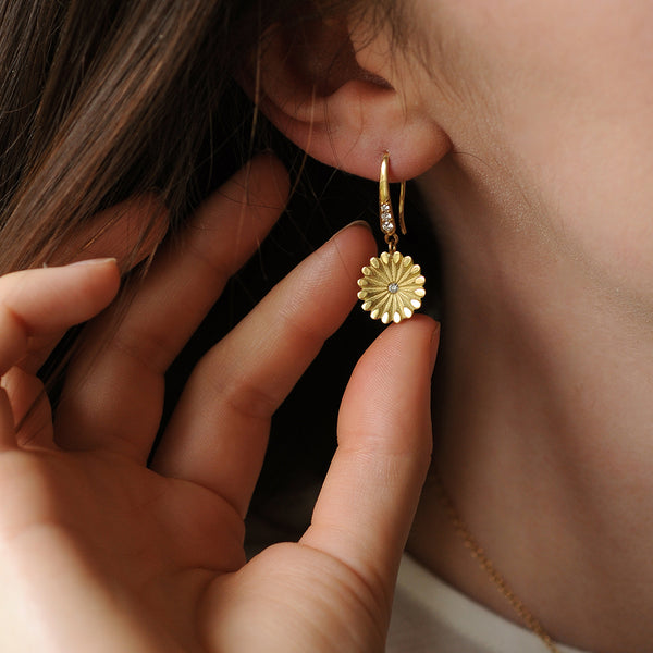 White Diamond Lotus Drop Earrings
