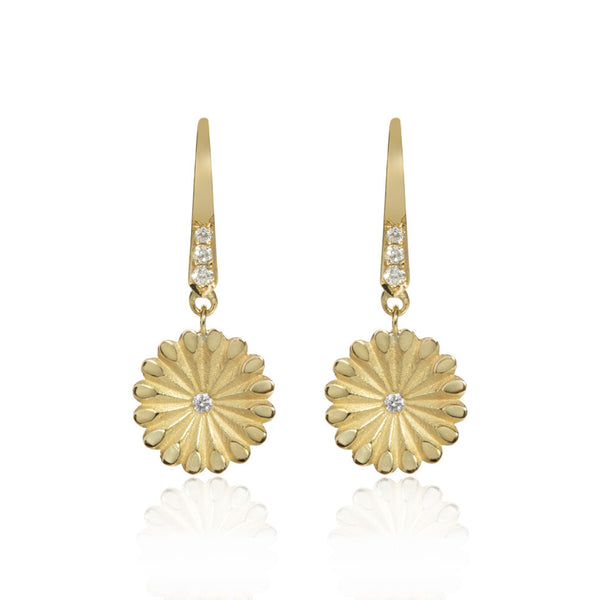 Gold Lotus Hanging Diamond Earrings