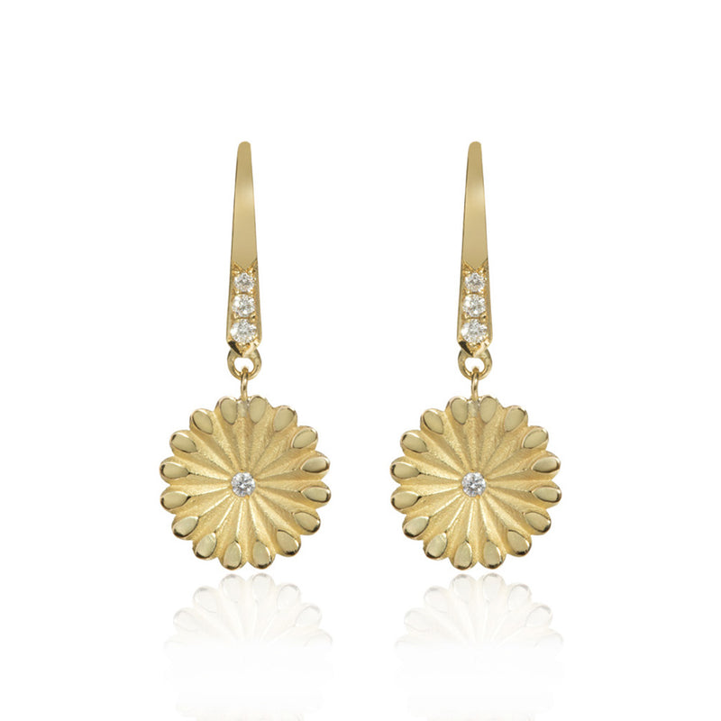 Lotus Hanging Gold and Diamond Earrings
