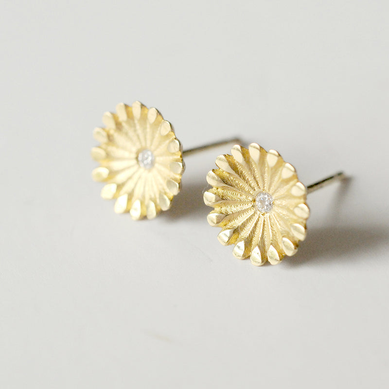 Lotus Diamond Gold Earrings
